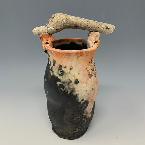 Saggar-Fired Vase, Driftwood handle