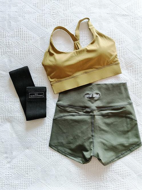 RV Kira Top + Hot Shorts Set - Yellow N Green