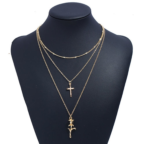 Rose x Cross Necklace