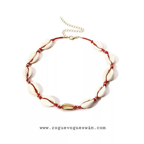 1 Gold Red Rope - Coquillage Shell Necklace