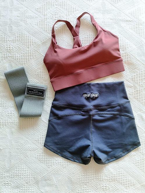 RV Kira Top + Hot Shorts Set - Pink N Grey