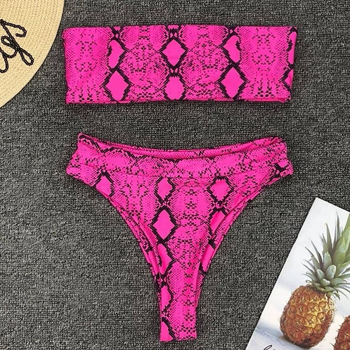 Hot Snake Print Bikini Set-Pink