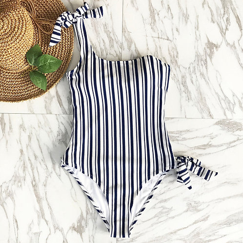 Ayla Stripes One Shoulder Swimsuit