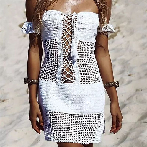 Moana Crochet Dress - White