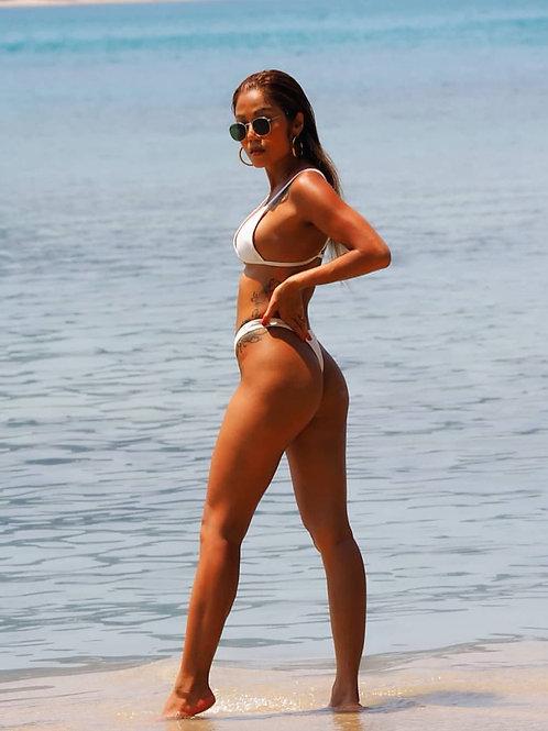 Feisty Xena High Cut Bikini Set-White