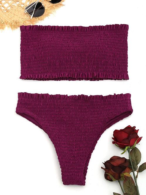 Audrey Bandeau Bikini Set - Merlot