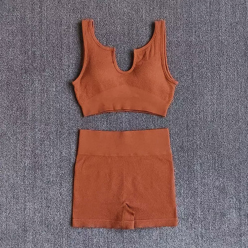 RV New You Set - U neck (Shorts) - Brown