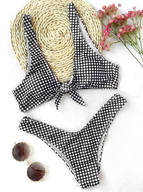 Summer Me Check Bikini Set