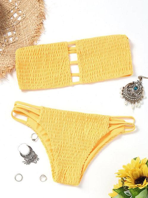 Leia Smocked Bandeau Bikini Set