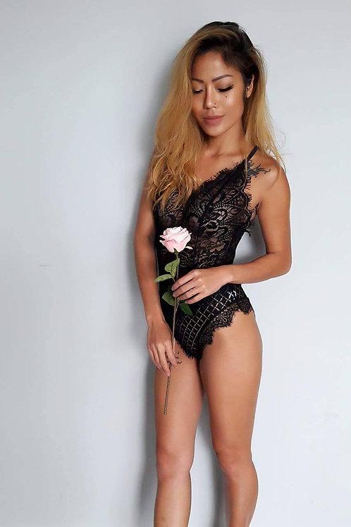 Your Love Is My Lace Bodysuit-Black