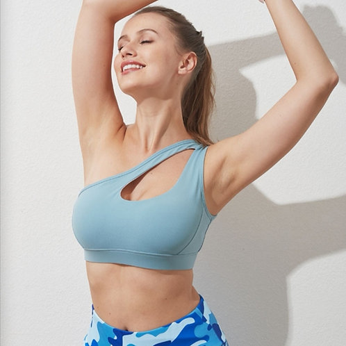 RV One Shoulder Sportbra - Light Blue
