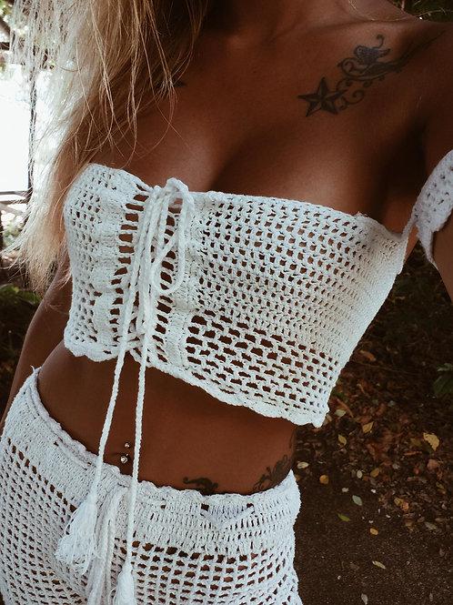 Lola Crochet Boho Top-White