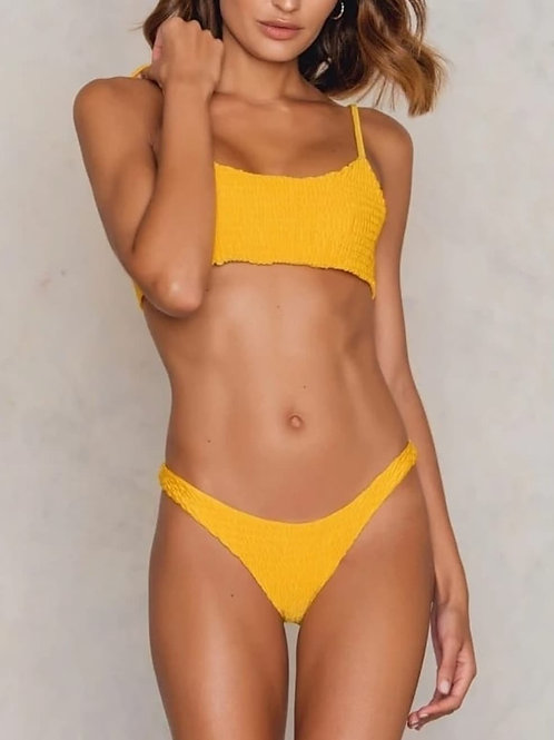 Mimi Smocked Bikini Set - Yellow