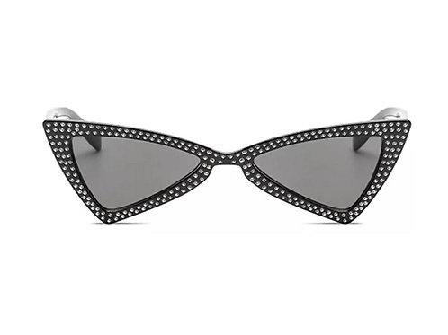 Retro Triangle Sunglasses - Black Rhinestone Frame