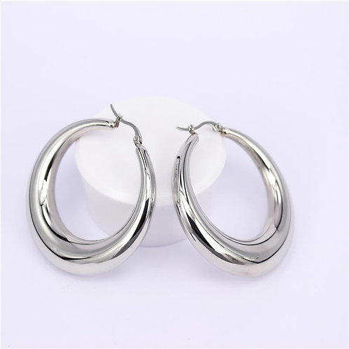 ISABEL 50mm - Silver Hoop Earrings