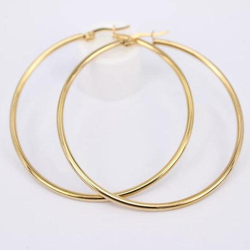 Rita 50mm - Gold Thin Hoops Earrings
