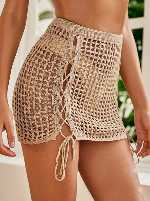 RV Sexy Lace Up Crochet Skirt