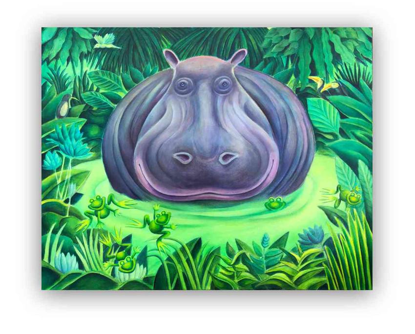 Hippopotamus: Oil on canvas 80 x 100 cm