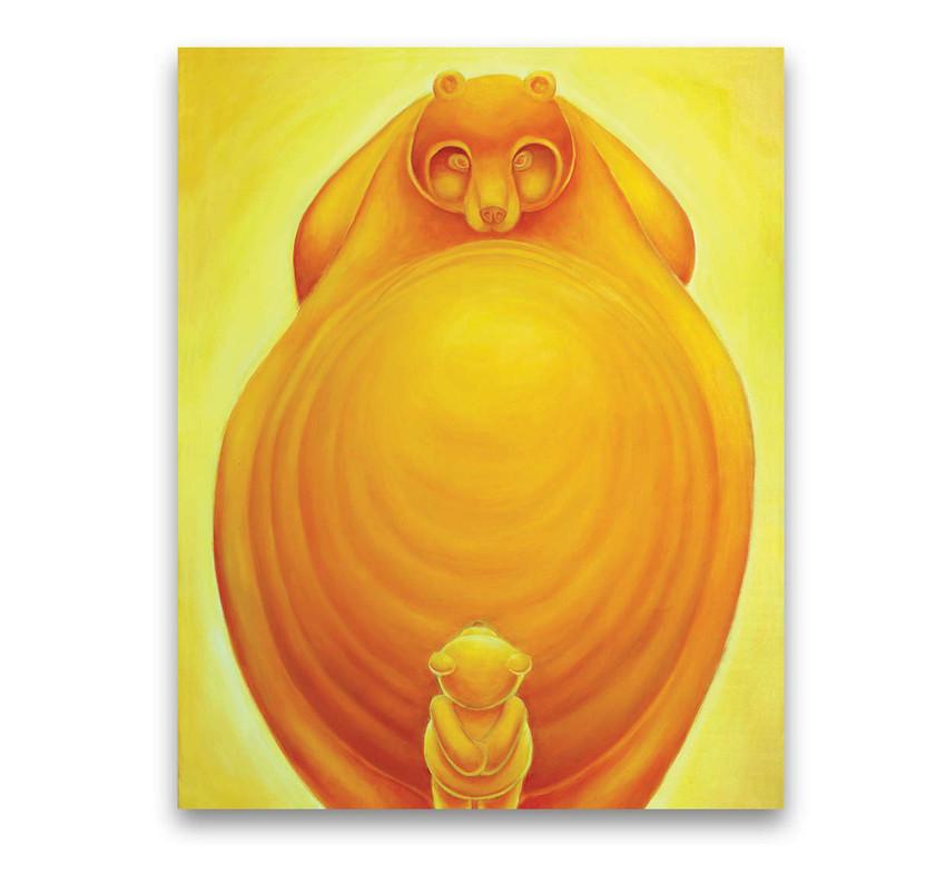 Teddy and Bear: Oil on canvas 80 x 100 cm