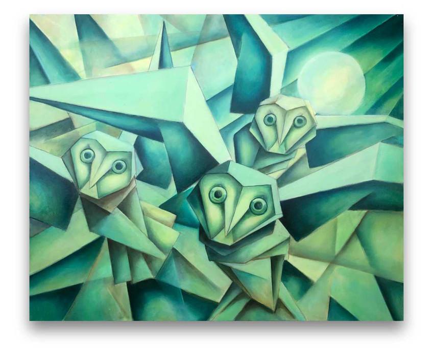 Owls: Oil on canvas 80 x 100 cm