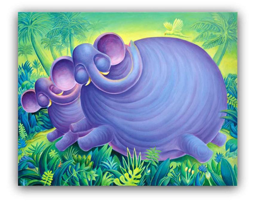 Elephants: Oil on canvas 80 x 100 cm