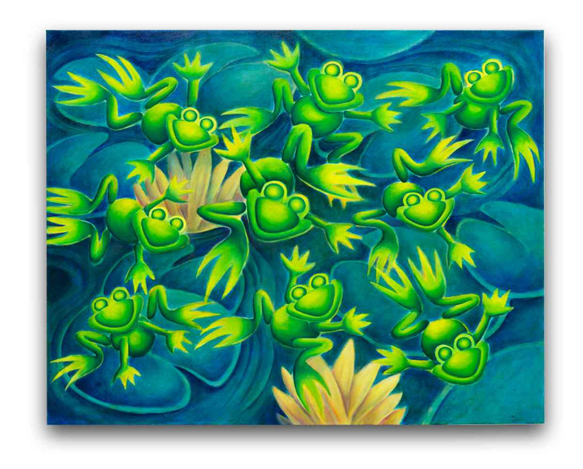 Frogs: Oil on canvas 80 x 100 cm