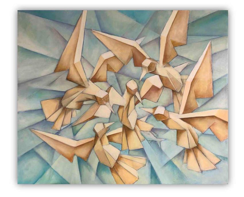 Seagulls: Oil on canvas 80 100 cm