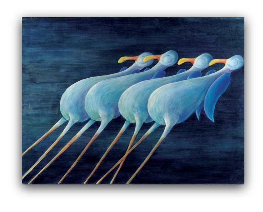 Seagulls: Oil on canvas 80 x 100 cm