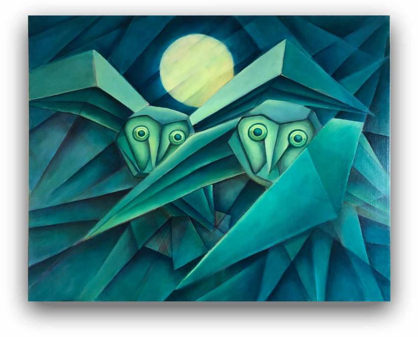 Owls 2: Oil on canvas 80 x 100 cm