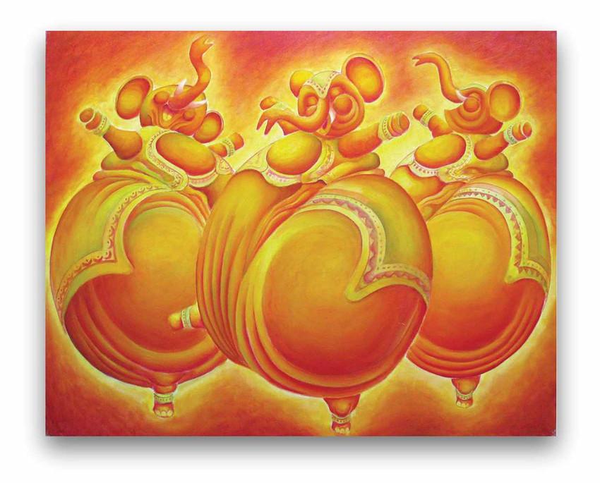 Elephants: =il on canvas 80 x 100 cm