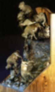 Bronze sculpture of a Buffalo Jump.