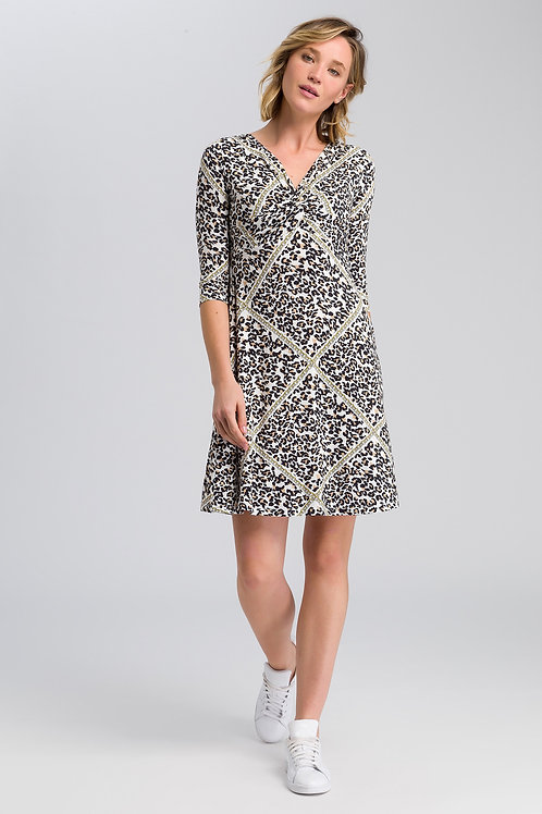 MARC AUREL JERSEY DRESS WITH LEOPARD PRINT AND CHAIN