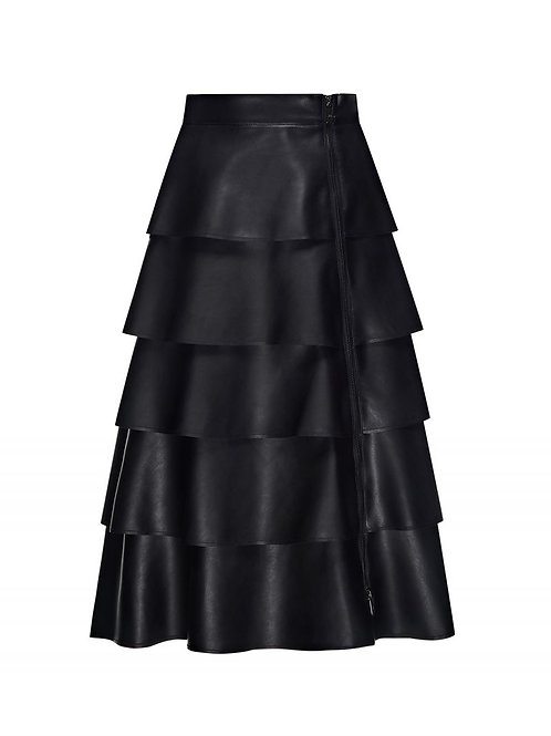 SFIZIO FAUX LEATHER FLOUNCE SKIRT