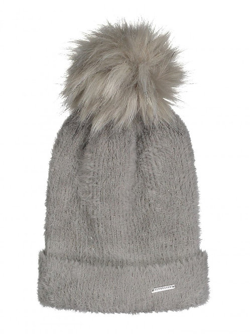 RINO & PELLE CASO KNITTED HAT WITH FAUX FUR Taupe