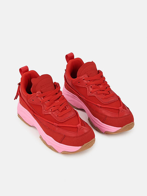 ESSENTIEL ANTWERP RED SNEAKERS WITH CHUNKY PINK SOLES