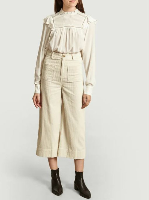 SUNCOO JUDE WHITE WIDE-LEG CORDUROY PANTS