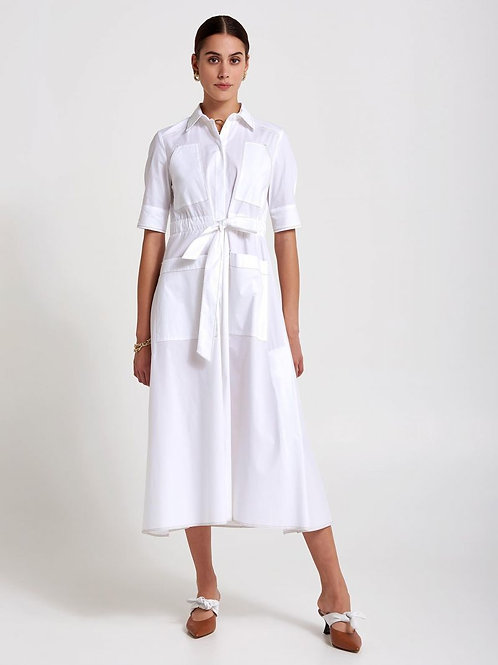 BEATRICE B ITALIA WHITE COTTON DRESS WITH REAR EMBROIDERY