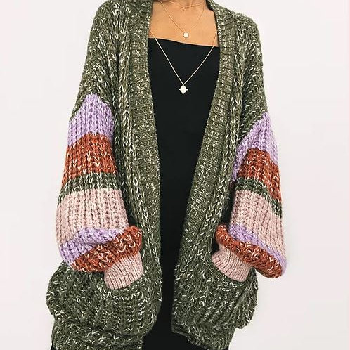 CARA & THE SKY OVERSIZED CARDIGAN KHAKI