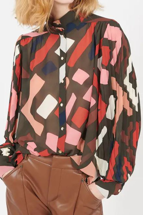 SUNCOO LOVE BEIGE PRINTED SHIRT WITH PLEATED SLEEVES