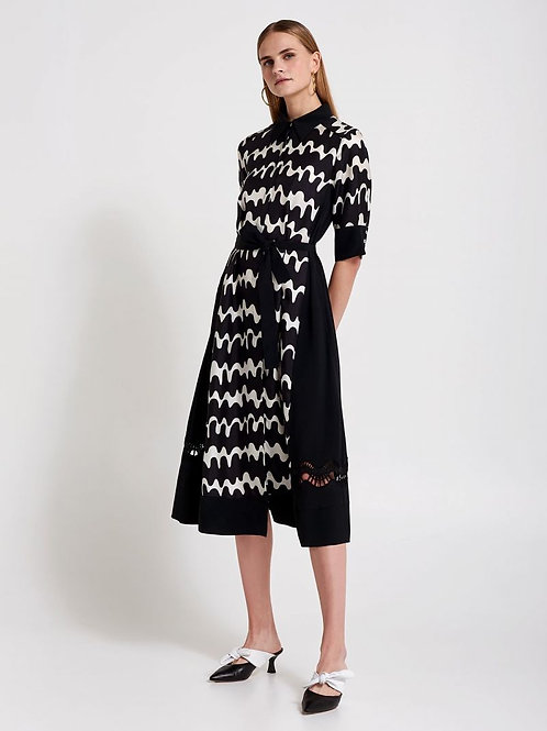 BEATRICE B ITALIA DRESS WITH WAVY PRINT AND LACE DETAILS