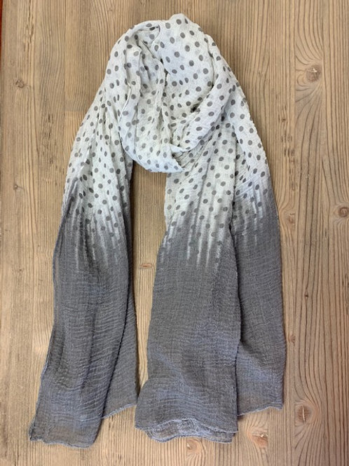 MOUSE GREY AND WHITE POLKA DOT SCARF