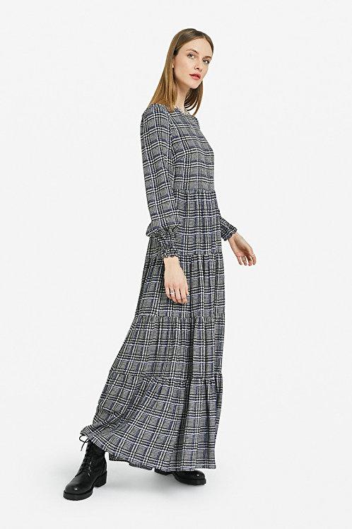 OTTOD'AME VISCOSE LONG DRESS WITH RUFFLES