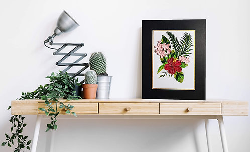 Hibiscus flower quilling matted