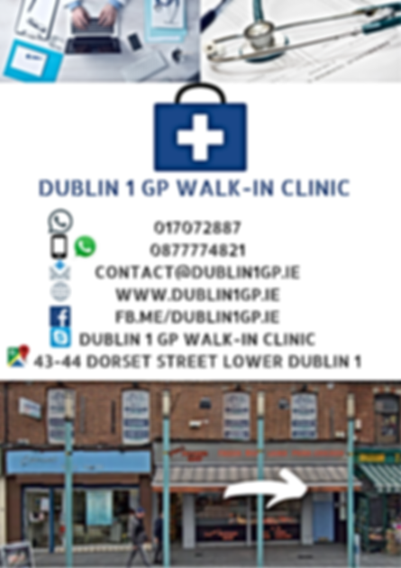 43-44 Dorset Street Lower Dublin 1  Co.Dublin  D01 F3C6   ​  Opening Hours   8:00am –10:00pm  Open 7 days A Week  *By Appointment Only After 7 pm  017072887 ​ 0877774821 ​ Contact@Dublin1GP.IE