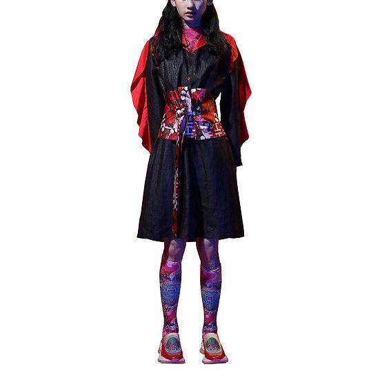 Canton Silk Ruffles Details Dress