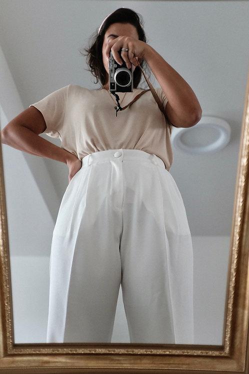 Calça crepe off-white