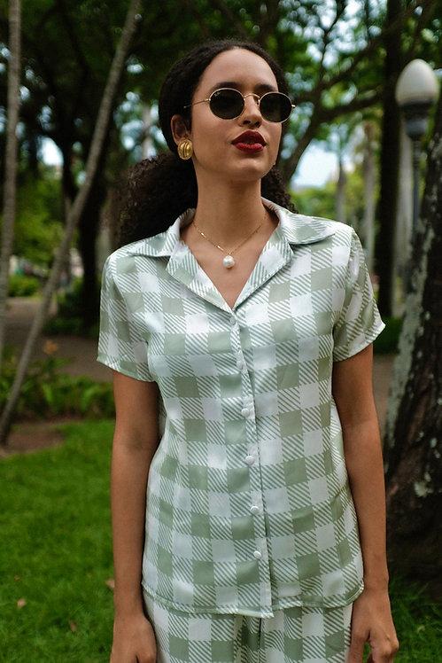 Camisa xadrez oliva