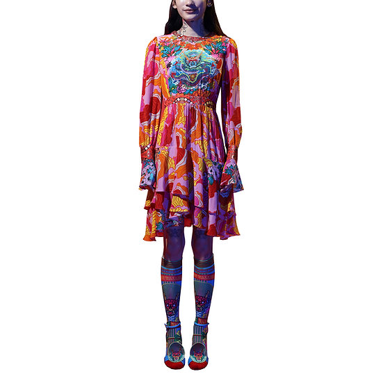 Forbidden Walled City Placement Print Pleated Dress