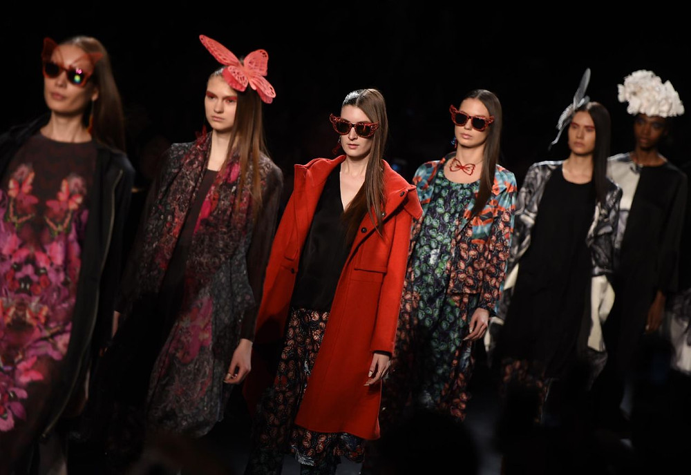 Models in Polly Ho designs walk down the runway during the Fashion Hong Kong show at New York Fashion Week on February 12, 2016