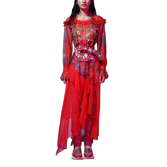 Forbidden Walled City Red Chiffon Maxi Dress